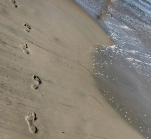 Footprints on the beach