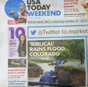 """Picture of """"Biblical Rains"""" in a newspaper"""