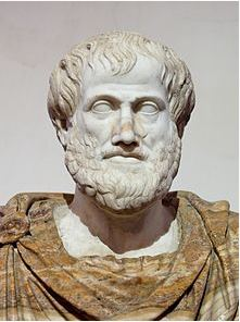 Roman copy in marble of a Greek bronze  bust of Aristotle by Lysippus, c. 330 BCE.  The alabaster mantle is modern. - photo from Wikipedia commons.